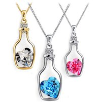 crystal heart - Austrian Crystal Wishing Drifting Bottle Pendant Sparkle gem Love Heart Necklaces Fashion jewelry cute gifts for women girls