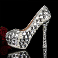 Wholesale 2016 New Solid Crystal Pearls Bordered Women s Bridal Heels Wedding Party Prom Evening Bridesmaid Princess Dress Shoes