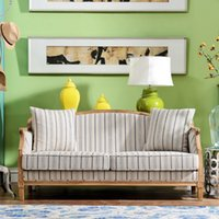 Wholesale Odd ranks yield US rustic wood furniture French fort Karen small living room with fabric sofa three bits B section