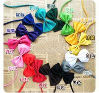Wholesale 12 Color Ployester Silk Pet Dog Cat Necktie Adjustable Bow Fashion Tie Pet Headdress Dog Apparel LOTPet Supplier Mix Color Mix Order
