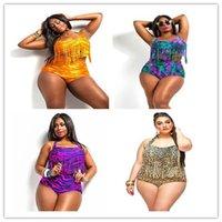 Wholesale summer women swimsuit woman two piece swimwear fat print swim suit female bathing suits plus size S colors