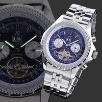 Cheap Fashion KS Tourbillon Date Display Stainless Steel Metal Buckle Band Men Auto Mechanical Wristwatch Blue Dial Wrist Hiking Watch KS011