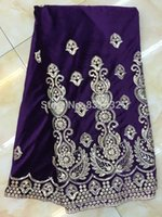 Wholesale newest african swiss voile velvet lace material in switzerland for clothing Purple Color AMY0253