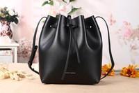 Wholesale Leather Drawstring Purse - 2016 Fashion Mansur Gavriel Drawstring Crossbody Bucket Bag Women Leather Handbag Genuine Leather Shoulder Bag + purses taschen women