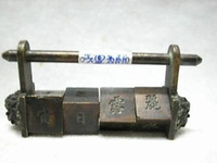 Wholesale RARE Chinese Old STYLE Brass Useful PASSWORD padlock lock key