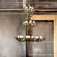 antler floor lamp - Luxury villas staircase chandelier lamp Continental hotel project lamp chandelier penthouse floor living room with large antlers