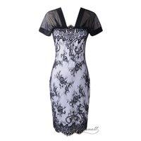 Cheap Evening Dresses Full Lace V-neck Long Dress Package Hip Skirt Autumn Same Style as America European Model 20pcs Black Dress Elegant A569