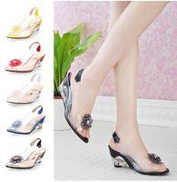 Wholesale New Fashion Women S crystal Sandals Slippers transparent Color Patchwork Flowers Square High Heel Sandals Pumps wedding shoes OL shoes