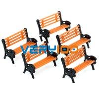 arm platform - 5 Plastic Model Train Station Park Bench Platform settee Orange Black Arms order lt no track