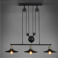 america master - Loft America Country Pulley Lifting Pendant Lights Creative Industrial Vintage Pendant Lamp Adjustable Contractile Home Lighting