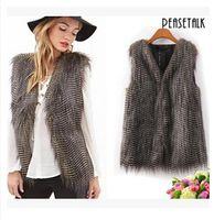 Wholesale 2017 New Fashion Women Faux Fur Winter Jacket Autumn Brown Down Vest Gilet Waistcoat Plus Size