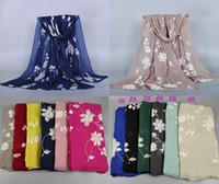 Wholesale women s embroider flower shawls pashmina cotton nice winter head hijab popular muslim scarves scarf