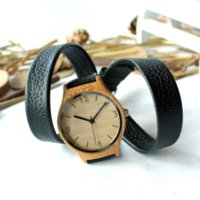 gift items - 2015 Top Gift Item Fashion Bamboo Wooden Watch With Long Genuine Cowhide Leather Band Casual Quartz Wood Watch for Friends