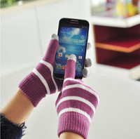 Wholesale 50pairs Unisex Magic five finger Touch Screen stripe Gloves for iPhone Ipad Samsung HTC Smart Phone Y217