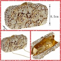 Wholesale Crystal Rose Evening Handbag - Luxurious Full Beaded Rose Crystal Ladies Handbags Evening One Shoulder Bags Clutch Bags Bridal Banquet Party Purse For Women Designer