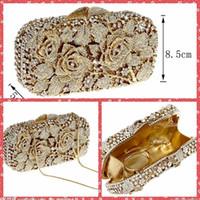 Precio de Señoras monederos moldeado-Monedero de lujo completa con cuentas de cristal de Rose de las señoras bolsos de noche del hombro Bolsas bolsos de embrague nupcial del partido del banquete por un diseñador de las mujeres