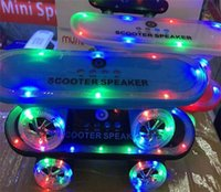 Wholesale 25pcs BT03L Skateboard Scooter Design Colorful LED Light Speaker Bluetooth Mini Wireless Stereo Speakers FM Radio Stereo MP3 Music Player