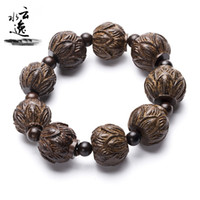 agarwood vietnam - YSY038 Black Wood Factory Direct Sale Vietnam Agarwood Buddha Beads Bracelet Black Ash Lotus Bracelet Incense Buddha Beads mm