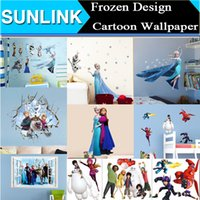 Wholesale Removable Cartoon Wall Stickers Kids Nusery Room Decorative Wall Decals Home Movie Wallpaper Wall Art d Frozen Elsa Anna Big Hero Baymax