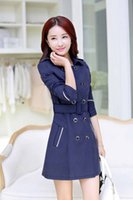 Wholesale Hot Sale New High Quality Corea Style Women Trench Coat double breasted Joining together design Casual Dust Coat