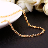 18k gold chain necklace - 3 colors Top quality K gold plated twisted rope chain necklace MMX26inches fashion jewelry