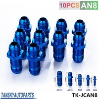 aluminum bulkhead - Tansky High Quality AN AN8 MALE THREAD STRAIGHT BULKHEAD FLARE BLUE ALUMINUM ANODIZED FITTING JDM TK JCAN8
