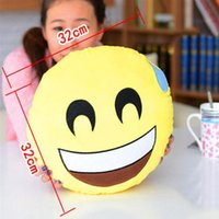 Wholesale Cushion Cute Lovely Emoji Styles Diameter cm Smiley Pillows Cartoon Cushion Pillows Yellow Round Pillow bolster Stuffed Plush Toy pc