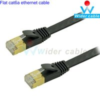 Wholesale 3ft MHz Flat Cat6a Ethernet Cable P8C Short Body RJ45 Black Color CAT6a Lan Cable For Computer