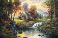 Дешевый Горные картины-Mountain Retreat Кинкейд Картины маслом не Печать на холсте без рамки. № 132