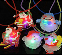 Wholesale Merry Christmas Decoration Santa Claus Snowman Luminous LED Necklace Pendant for Children Boy Girl Gift Party Supplies