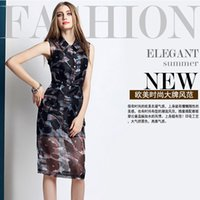 Wholesale Sexy Perspective Dress Street Style Women Turndown Collar Gauze Printed Slim A Line Package hip Dress Autumn New