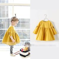 Wholesale Hot sell Spring Children Dress Girls solid color cotton Casual long sleeve dress Kids popular princess dress yellow CA7182
