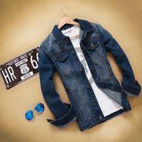 Men big denim jacket - 2015 spring Autumn New Arrival Men Trucker Jean Jackets American Vintage Style Cotton Denim Male Outwear Big Size C007