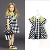 white cotton dress - New Fashion Girls Princess Dresses Summer Korean Girls Cotton Round Neck Short Sleeve Black and White Plaid Stitching Lace A line Dress