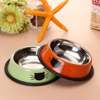 Wholesale Cats Bowls High Quality Stainless Steel Cat Feeding Water Feeders Nice Color Antislip Pets Supplies