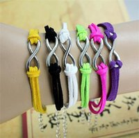 anchor candy - Hot fashion charms handmade leather alloy cross and anchors patterns hand woven bracelet girls infinity bracelets candy colors jewelry