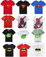 2016 bambini per bambini Boy Superman Batman teenage mutant ninja turtles, Spiderman ragazzi manica corta maglietta di estate, O-collo corto T-shirt da DHL