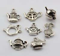 antique teapots - Hot Sales Antique Silver Alloy Mixed Teapot Charms Pendant style DIY Jewelry