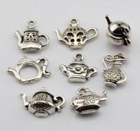antique teapots sale - Hot Sales Antique Silver Alloy Mixed Teapot Charms Pendant style DIY Jewelry