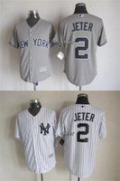 Wholesale 2015 Newest Men s New York Yankees JETER grey white Majestic Baseball Jersey Cheap jerseys Size M XXXL