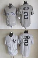 achat en gros de jerseys yankees pas cher-Yankees de New York # 2 JETER le gris de 2015 Nouveaux Hommes gros / blanc Majestic Baseball Jersey, livraison gratuite maillots chers Taille M-XXXL