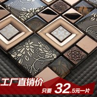 Wholesale Jasmine Continental carved crystal glass mosaic tile puzzle backdrop interior wall stickers bathroom entrance