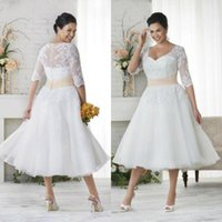 al por mayor vestido de boda de cola-Nuevo más vestidos de boda del tamaño con mangas Una línea vestidos de bola del cuello de V debajo de 100 vestidos de boda de la longitud del té del vintage vestidos de boda coloreados