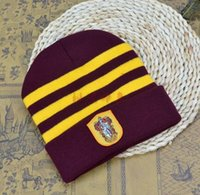 Wholesale Hufflepuff Ravenclaw Gryffindor Harry Potter Hat Cosplay College School Hats Slytherin Beanie Skull Knit Hat Cap