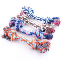 Wholesale New hot sell Puppy Dog Pet Toy Cotton Braided Bone Rope Double knot cotton rope trumpet Chew Knot