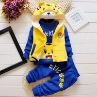 boys and girls clothing - Boys Three Piece Autumn and Winter Goods Cartoon Letters Printing T Shirts Cartoon Tiger Hooded Vest Pocket Trousers Cotton Clothes
