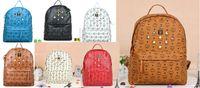 mcm backpack - 2015 Hot selling Punk Rivet MCM Backpacks Men Schoolbag mcm Handbags Women Leather Shoulders Bag