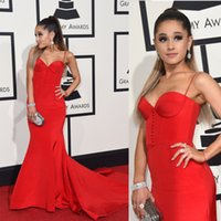 ariana grande dress - Ariana Grande Grammy Awards Evening Dresses Red Mermaid Evening Gowns Covered Button Spaghetti Satin Celebrity Dresses