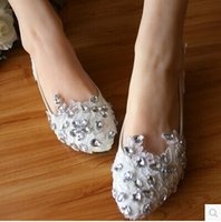 Wholesale 2015 white Wedding Shoes Pure manual Beading Handmade Bridal Shoes Bridal Accessories Beading Wedding Shoes Women Flat Sandal Platform