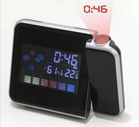 Cheap Cheap Digital LCD Screen LED Projector Alarm Clock Mini Desktop Multi-function Weather Station desk table clocks home decor 8783